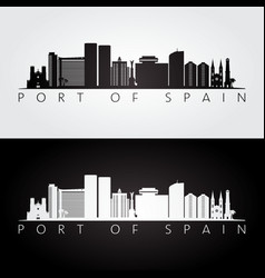 Port of spain skyline and landmarks silhouette vector