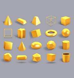 realistic 3d gold shapes golden metal geometric vector image