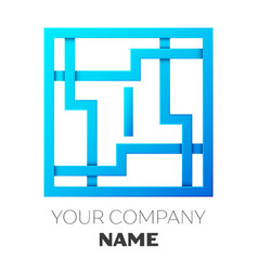 Realistic letter i logo in colorful square maze vector