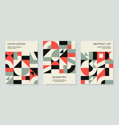 Retro bauhaus covers set design with colorful vector