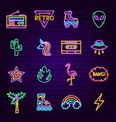 Retro style neon icons vector