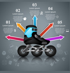 Roller skate - business paper infographic vector