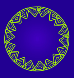 round frame green ornament on a dark blue vector image
