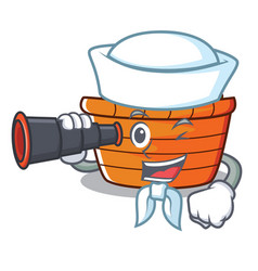 Sailor with binocular fruit basket character vector