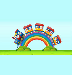 scene with train riding over the rainbow vector image