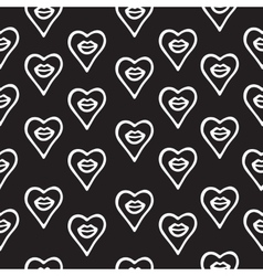 Seamless pattern hand drawn lips and hearts vector