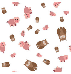 seamless pattern made of pig and owls vector image