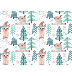 seamless pattern with cute piglets in vector image