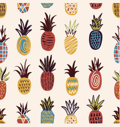 Seamless pattern with pineapples of various color vector