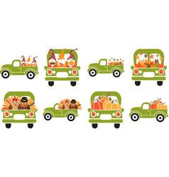 Set cartoon thankful trucks green thankful vector
