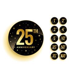 set golden anniversary badges vector image