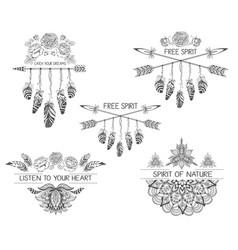 Set of hand drawn boho style design with mandala vector