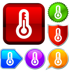 Set shiny icon series on buttons temperature vector