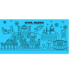 Spain madrid city winter holidays skyline merry vector