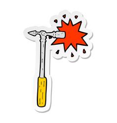 Sticker of a cartoon pin hammer vector