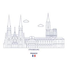 strasbourg city skyline vector image