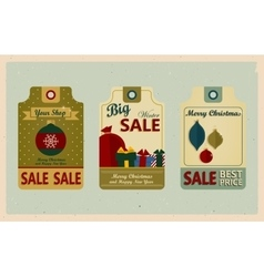Supermarket sale tags Retro style Christmas Sale vector