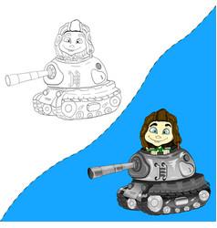 Tankman in a helmet coloring book vector