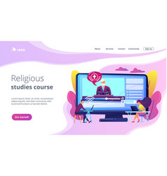 Theological lectures concept landing page vector
