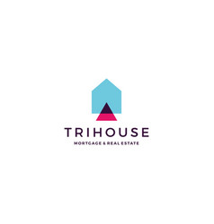 trihouse triangle house home mortgage real estate vector image