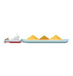 Tug boat with cargo barge isolated vector