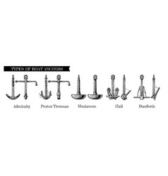 Types of boat anchors vector