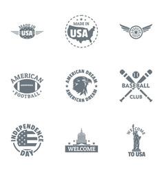 Usa baseball logo set simple style vector