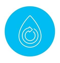 Water drop with circular arrow line icon vector image