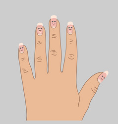 White spots on the nails cartoon vector