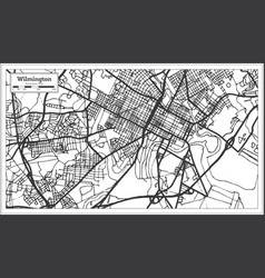 wilmington usa city map in retro style outline map vector image