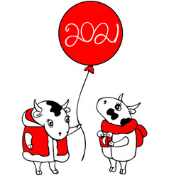 year 2021 greeting card drawing two cute cows art vector image