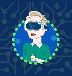 young man wearing 3d virtual reality glasses icon vector image