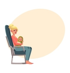 Young woman in airplane seat economy class vector