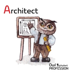 Alphabet professions Owl Architect character on a vector image