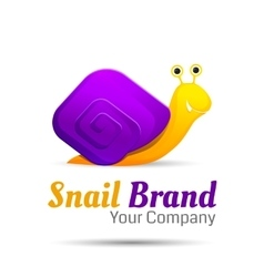 Colored stylized snail logo icon style vector image vector image