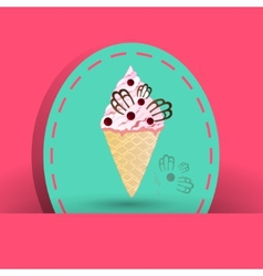 Cranberries icecream on the pink background vector