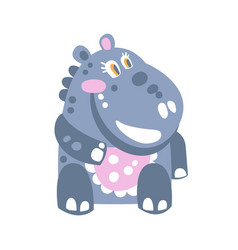 cute cartoon hippo character sitting on the floor vector image vector image