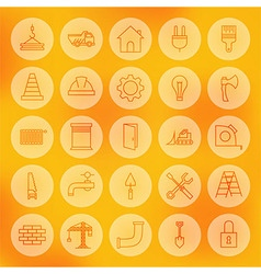 Line Circle Web Building and Construction Icons vector image