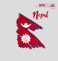 nepal flag brush strokes painted vector image