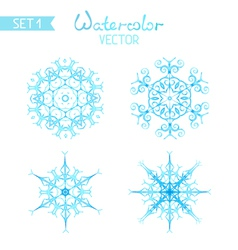 Set of watercolor snowflakes isolated on white vector image vector image