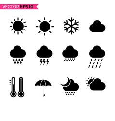 Weather icons set 1 vector image vector image