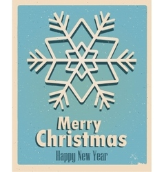 Vintage card with snowflake Retro Vintage Merry vector image vector image