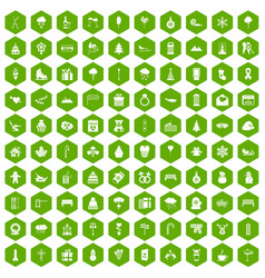 100 winter holidays icons hexagon green vector image vector image