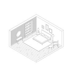 bedroom color line vector image vector image