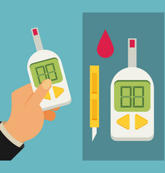 Blood glucose test diabetes flat icon set hand vector