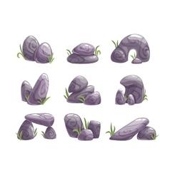 Cartoon gray stones set vector image