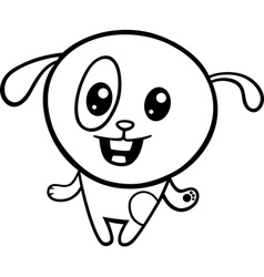cartoon kawaii puppy coloring page vector image vector image