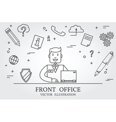 Front office Think line icon vector image