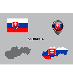 Map of Slovakia and symbol vector image vector image