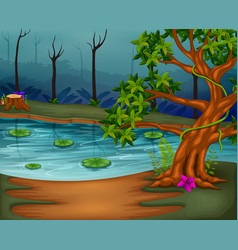 Forest scene with lake vector